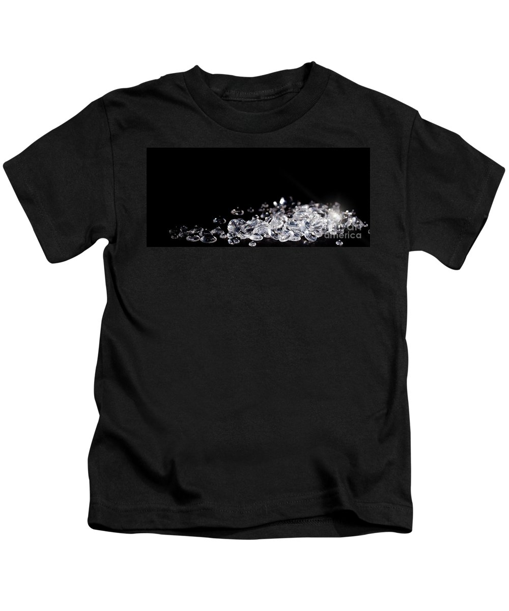 Background Kids T-Shirt featuring the photograph Diamonds on black background by Simon Bratt Photography LRPS