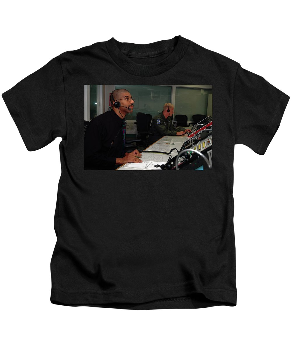 Astronomy Kids T-Shirt featuring the photograph Discovery Space Shuttle Control Room by Science Source