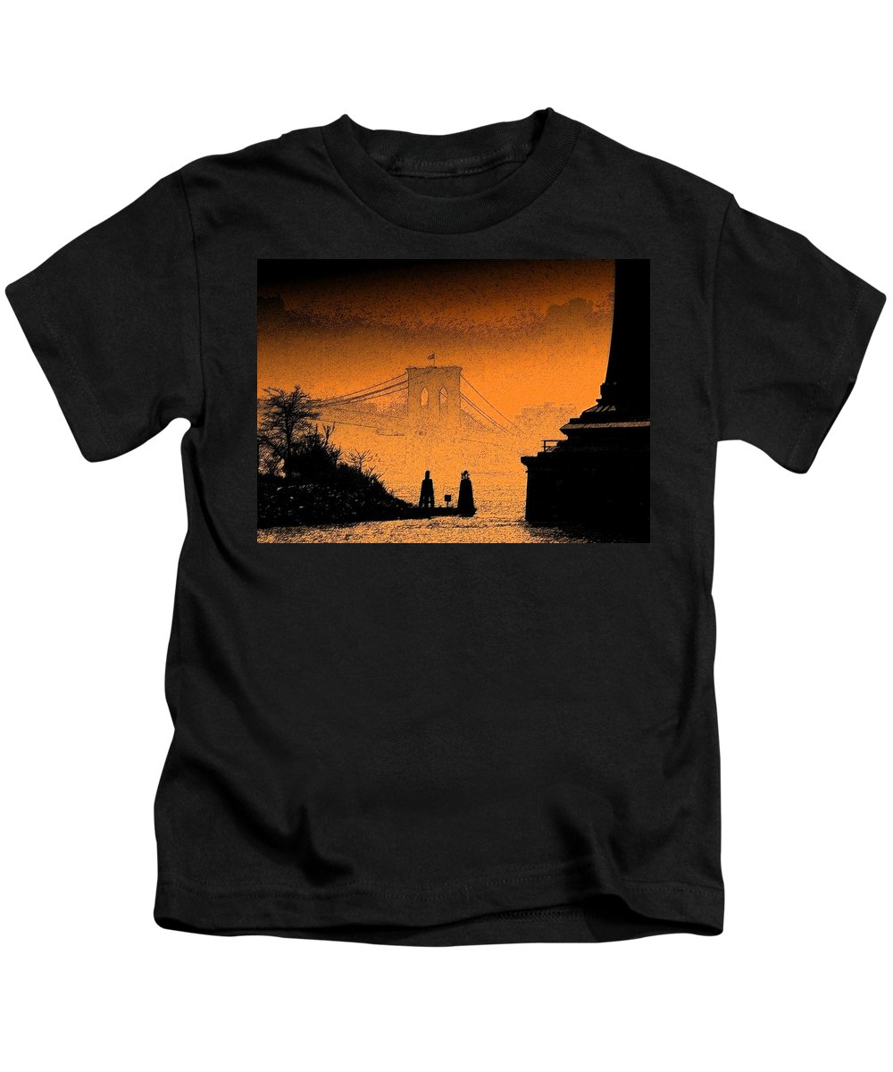 New York Kids T-Shirt featuring the photograph Distant Bridge by Jeff Watts