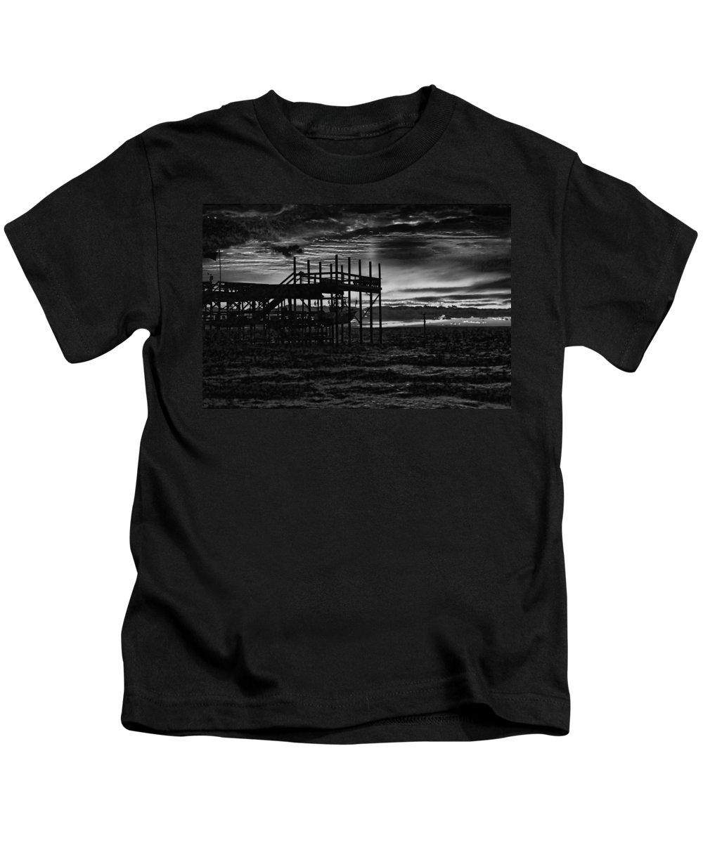 Palm Kids T-Shirt featuring the digital art Dock Sunset Bw1 by Michael Thomas