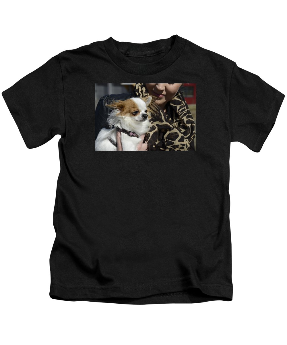 Dog And Friend Kids T-Shirt featuring the photograph Dog And True Friendship 2 by Teo SITCHET-KANDA