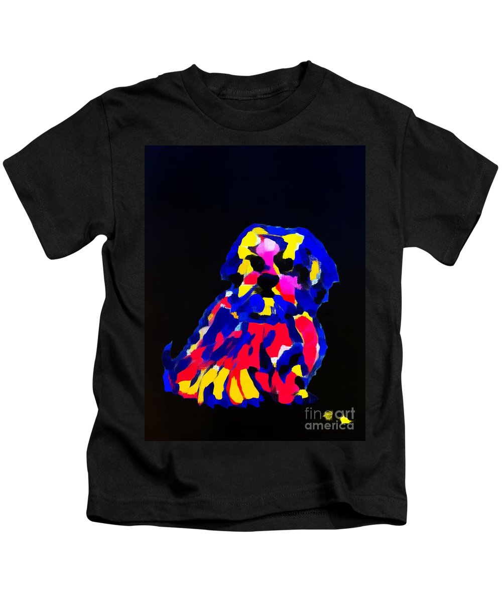 Dog Kids T-Shirt featuring the painting dog-Lahasa Apsos Tibetin Pooch Impression by Saundra Myles