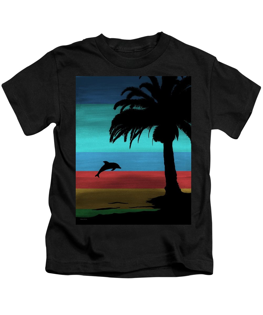 Dolphin Sunset Kids T-Shirt featuring the painting Dolphin Dreams by Barbara St Jean