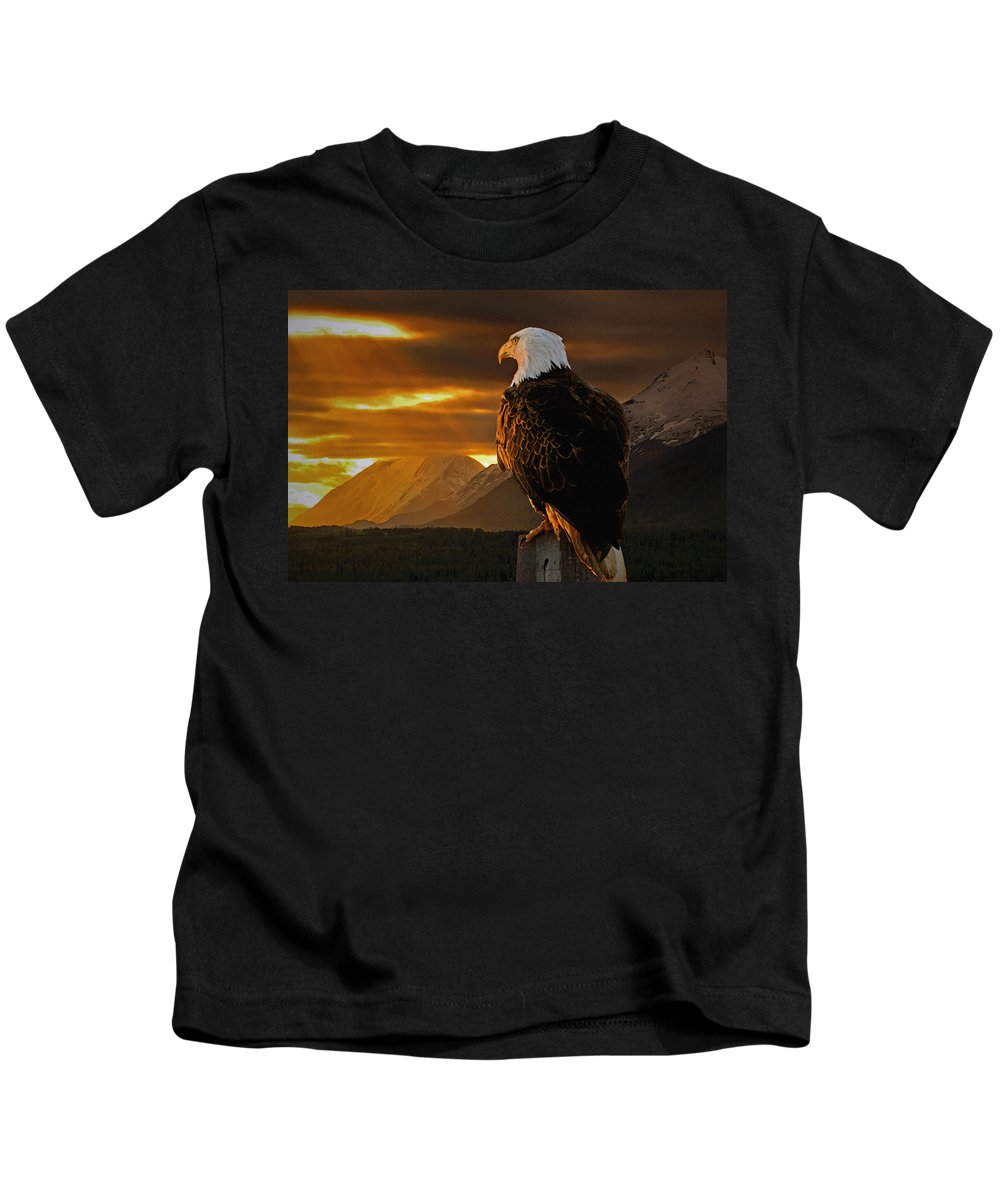 Eagle Kids T-Shirt featuring the photograph Domain by Ron Day