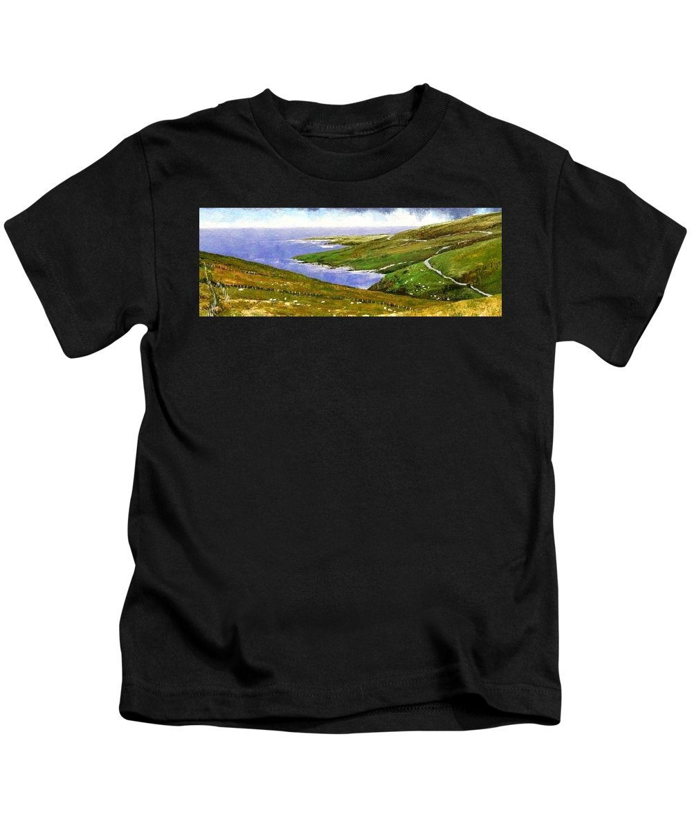 Irish Kids T-Shirt featuring the painting Donegal Coast by Jim Gola