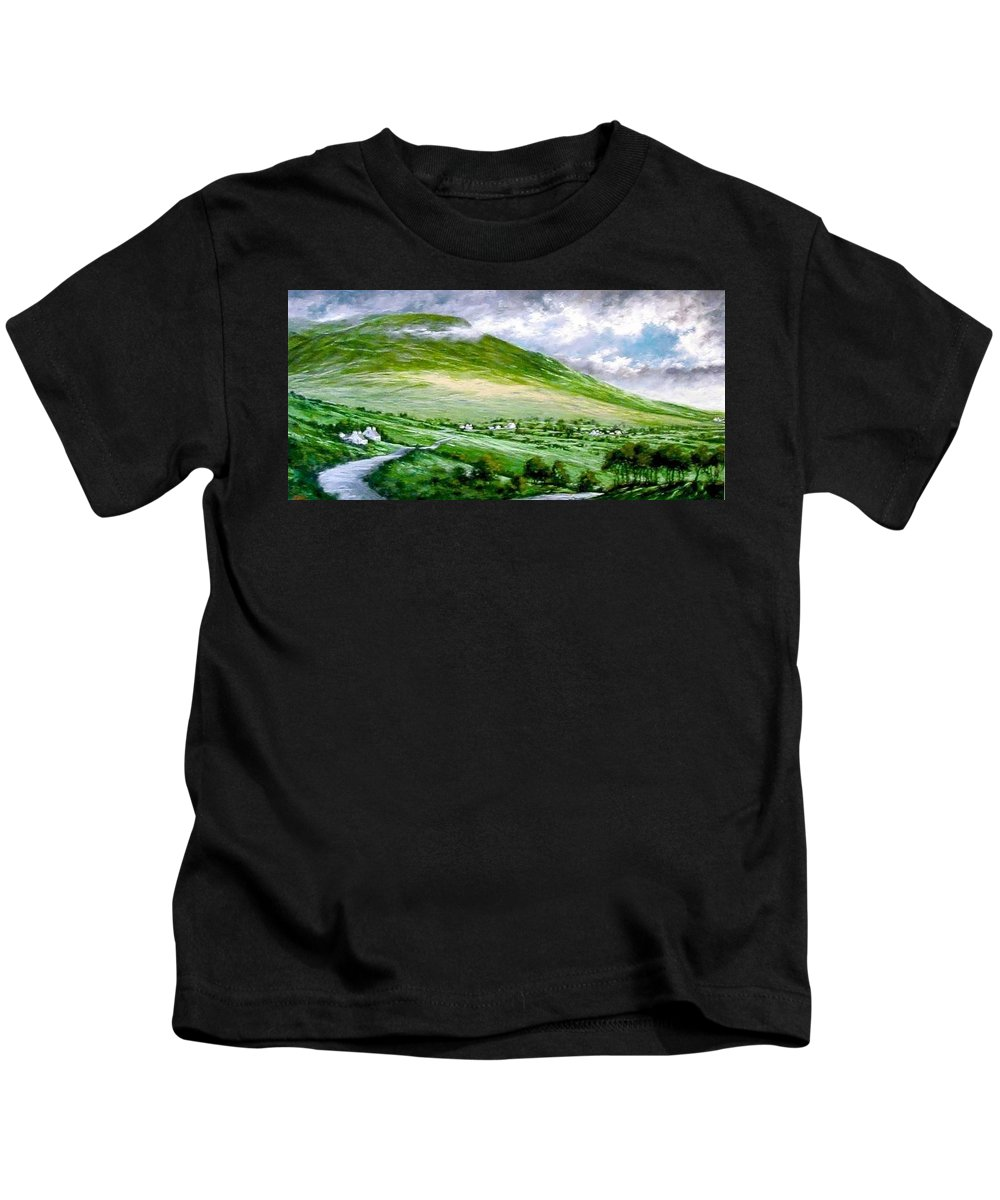 Irish Kids T-Shirt featuring the painting Donegal Hills by Jim Gola
