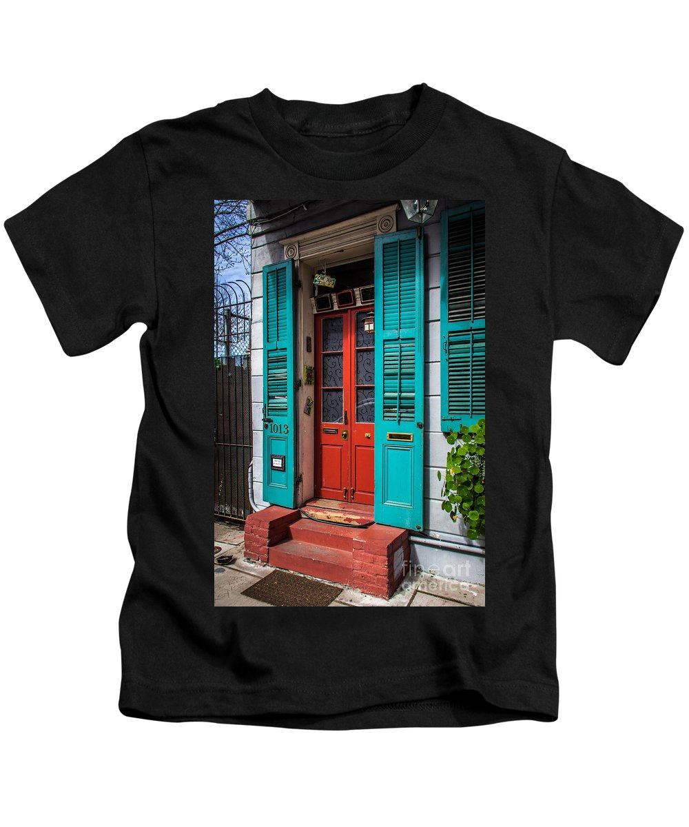 New Orleans Kids T-Shirt featuring the photograph Double Red Door by Perry Webster