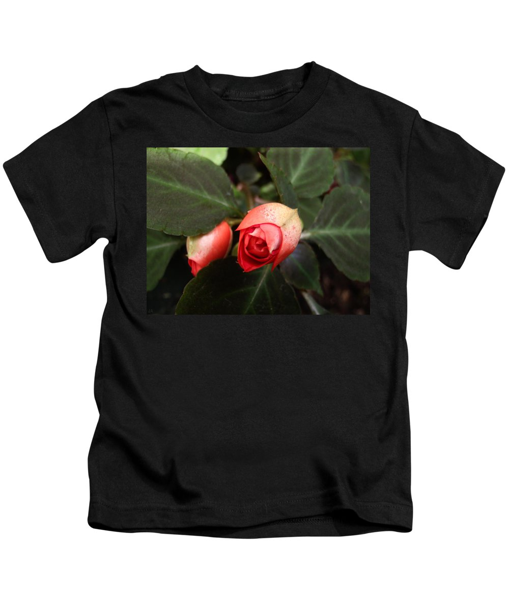 Flower Kids T-Shirt featuring the photograph Double Rose Impatiens by Jennifer Atherton