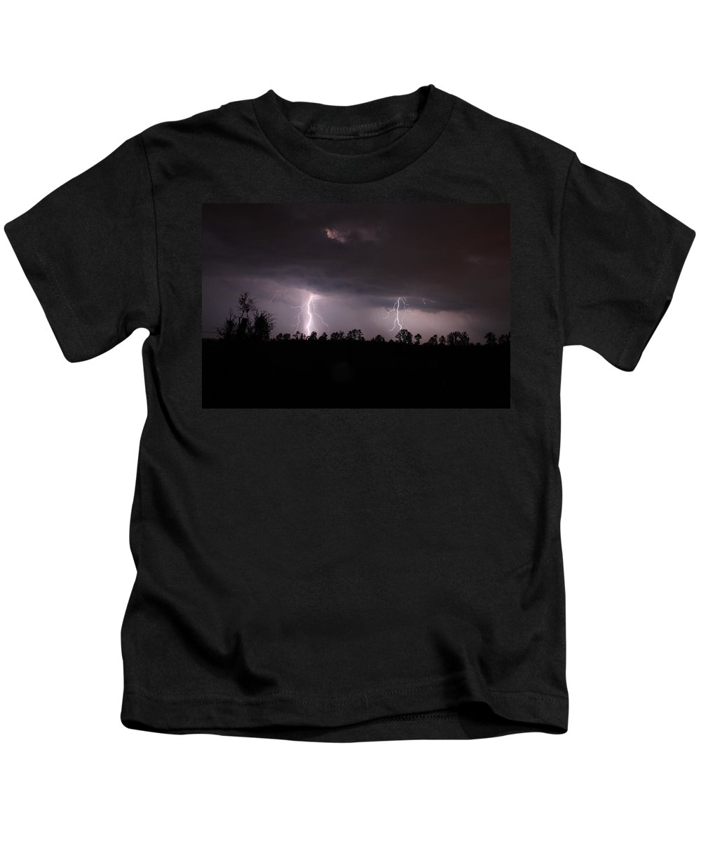 Lightning Kids T-Shirt featuring the photograph Double Trouble by Reid Callaway
