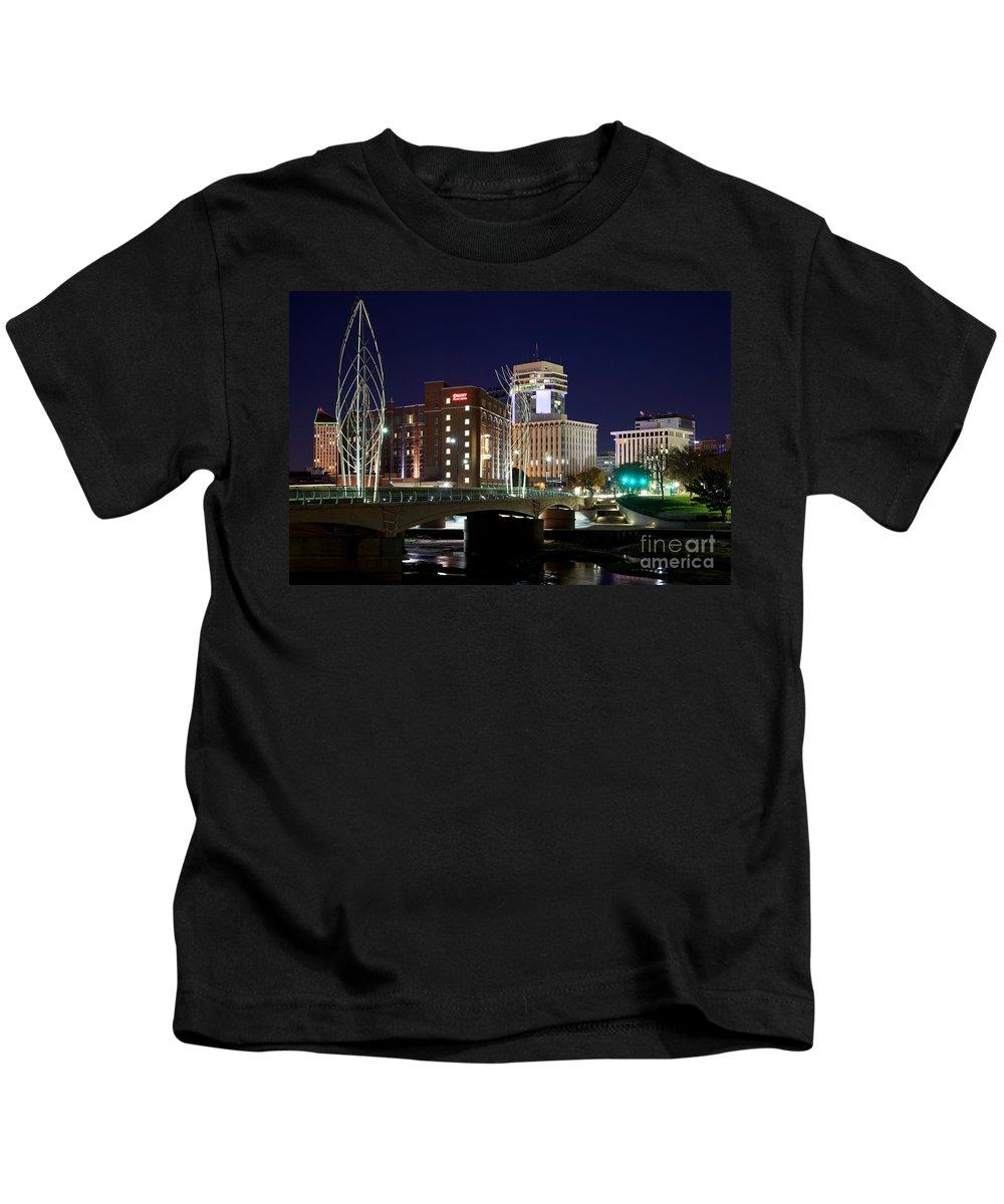 Arkansas Kids T-Shirt featuring the photograph Douglas Street Bridge In Wichita by Bill Cobb