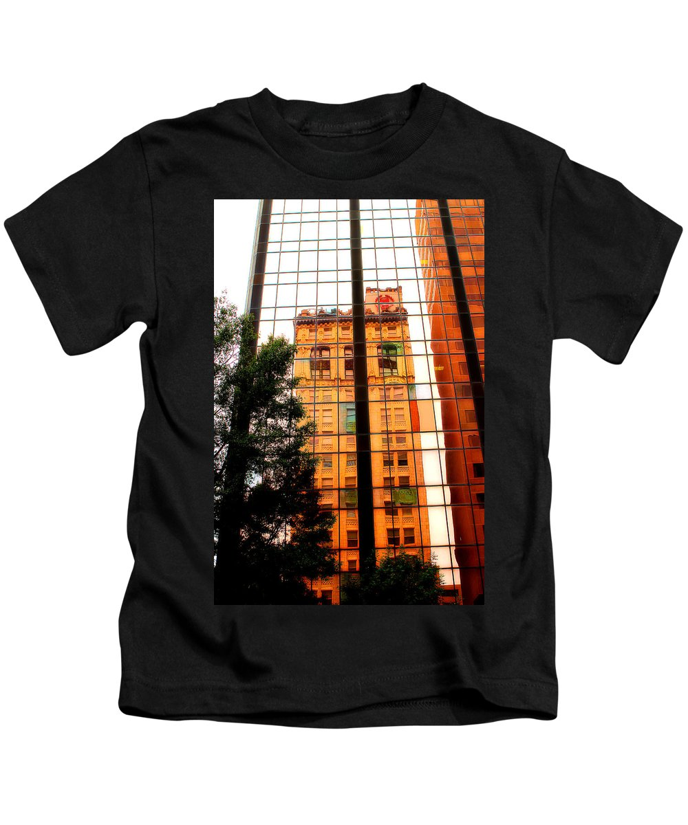Building Reflection Kids T-Shirt featuring the photograph Downtown Reflection by Michael Eingle