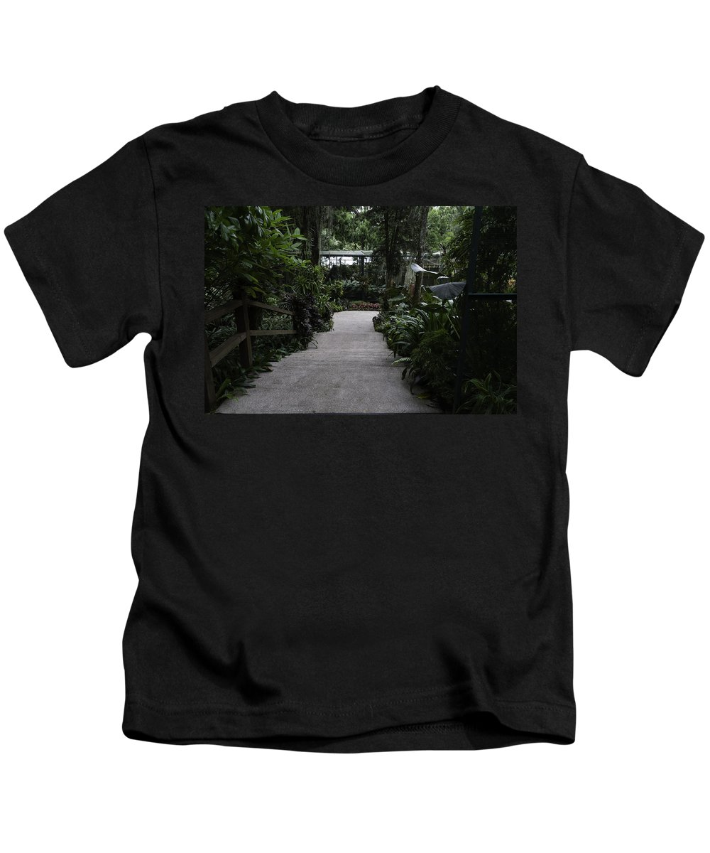 Asia Kids T-Shirt featuring the photograph Downward Sloping Part Inside The National Orchid Garden In Singapore by Ashish Agarwal