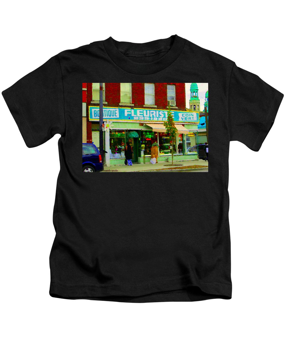 St.henri Kids T-Shirt featuring the painting Dozen Red Roses Boutique Fleuriste Coin Vert Notre Dame Street Scene Montreal Art Carole Spandau by Carole Spandau