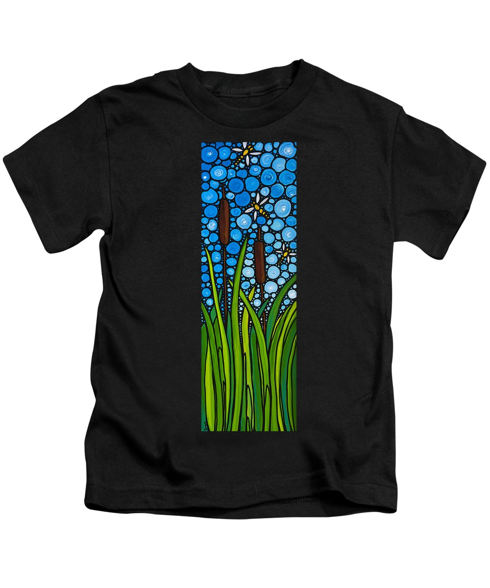 Dragonfly Kids T-Shirt featuring the painting Dragonfly Pond By Sharon Cummings by Sharon Cummings