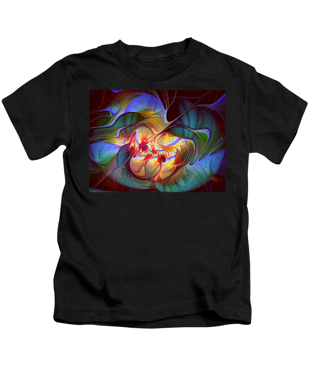 Abstract Kids T-Shirt featuring the digital art Dragonheart by Casey Kotas
