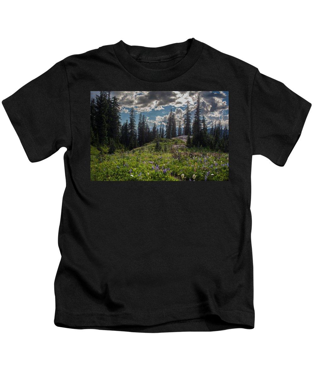 Rainier Kids T-Shirt featuring the photograph Dramatic Rainier Flower Meadows by Mike Reid