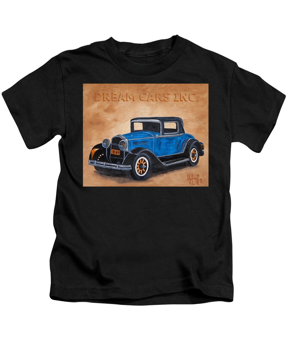 Blue Kids T-Shirt featuring the painting Dream Cars Inc. by Alex Izatt