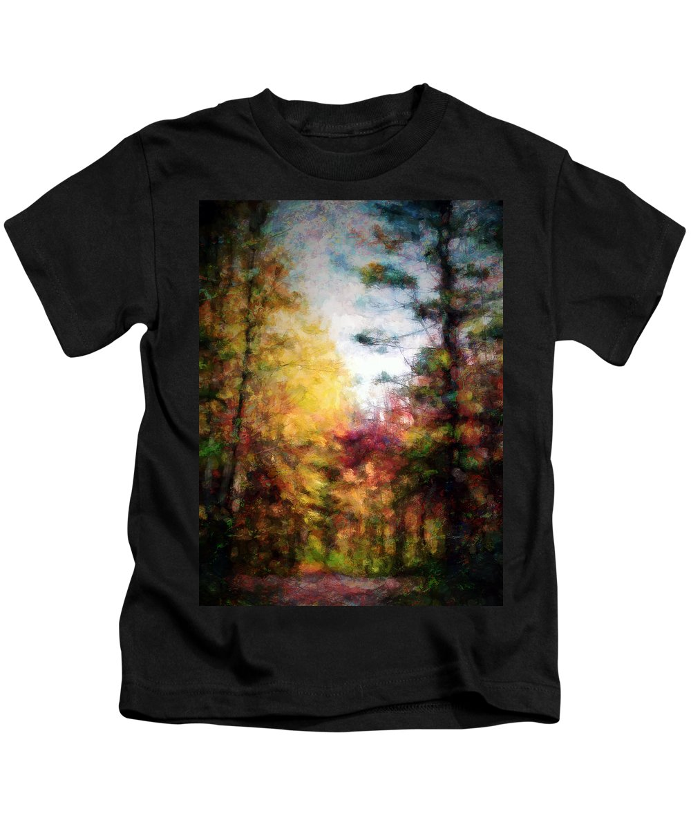 Fall Kids T-Shirt featuring the digital art Dreamy Nature Walk by Tina Baxter