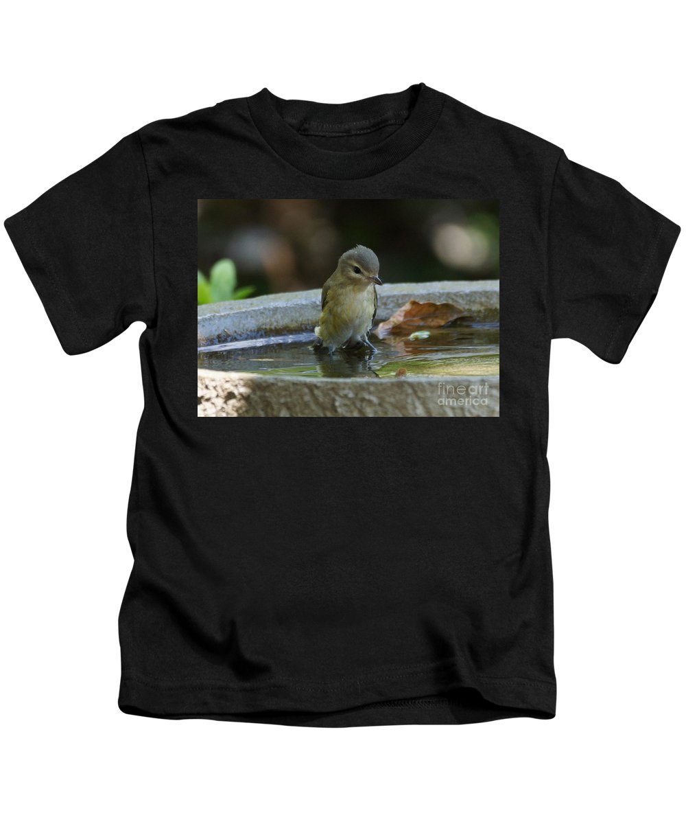 Warbling Vireo Kids T-Shirt featuring the photograph Drenched by Lori Tordsen