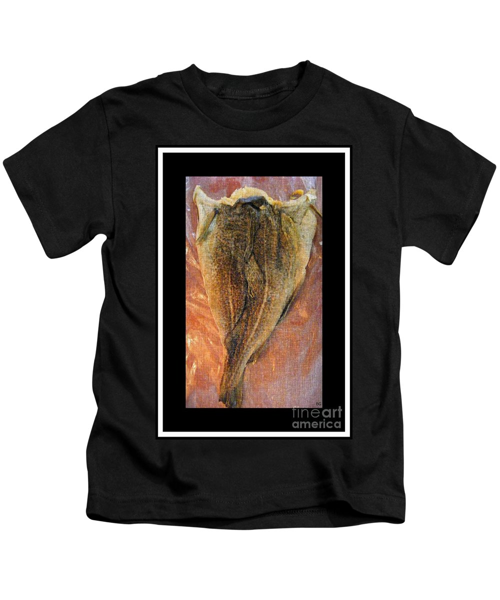 Dried Salted Codfish Back Kids T-Shirt featuring the digital art Dried Salted Codfish Back by Barbara Griffin