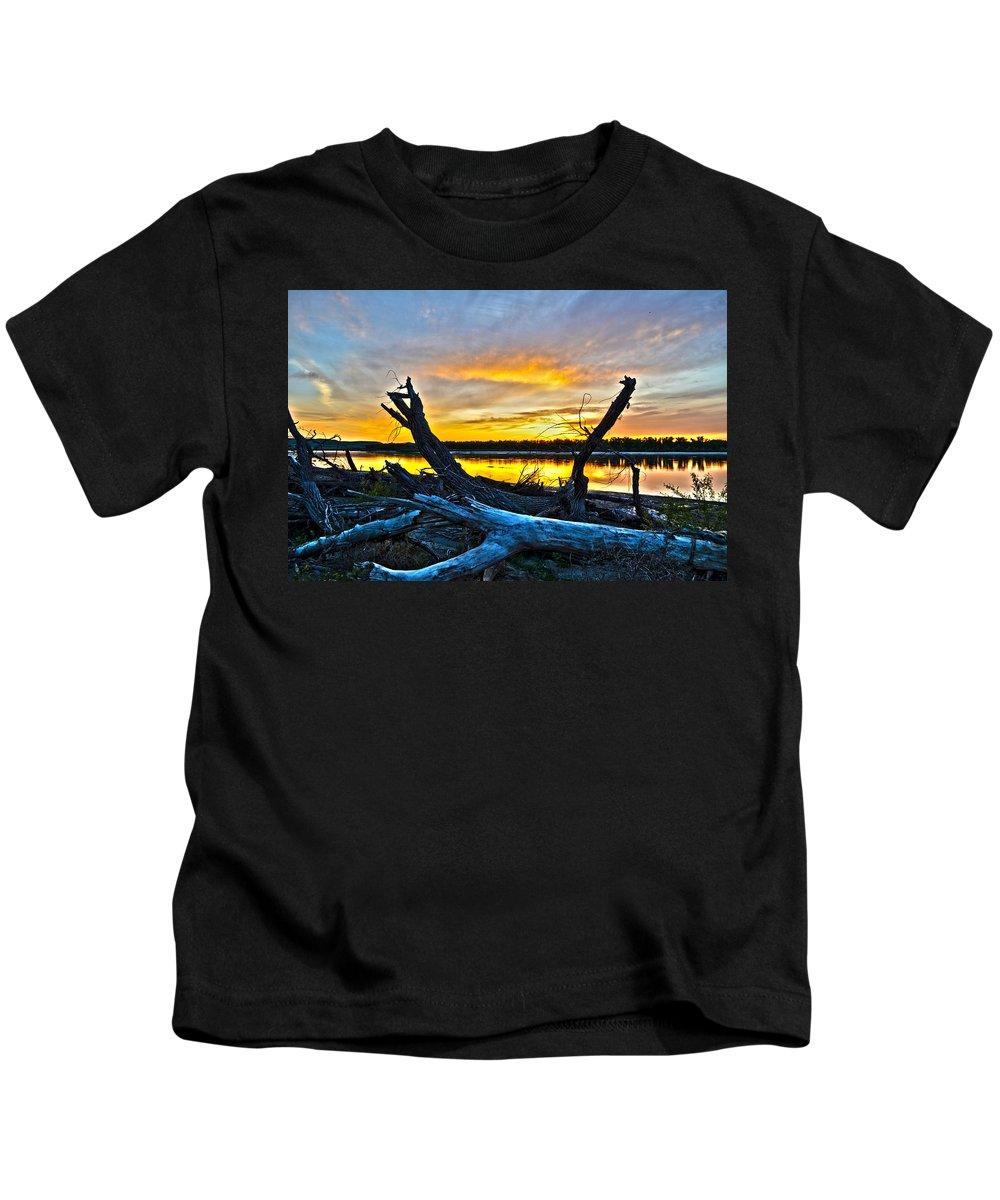 Sunset Kids T-Shirt featuring the photograph Driftwood Sunset by Brian Metz