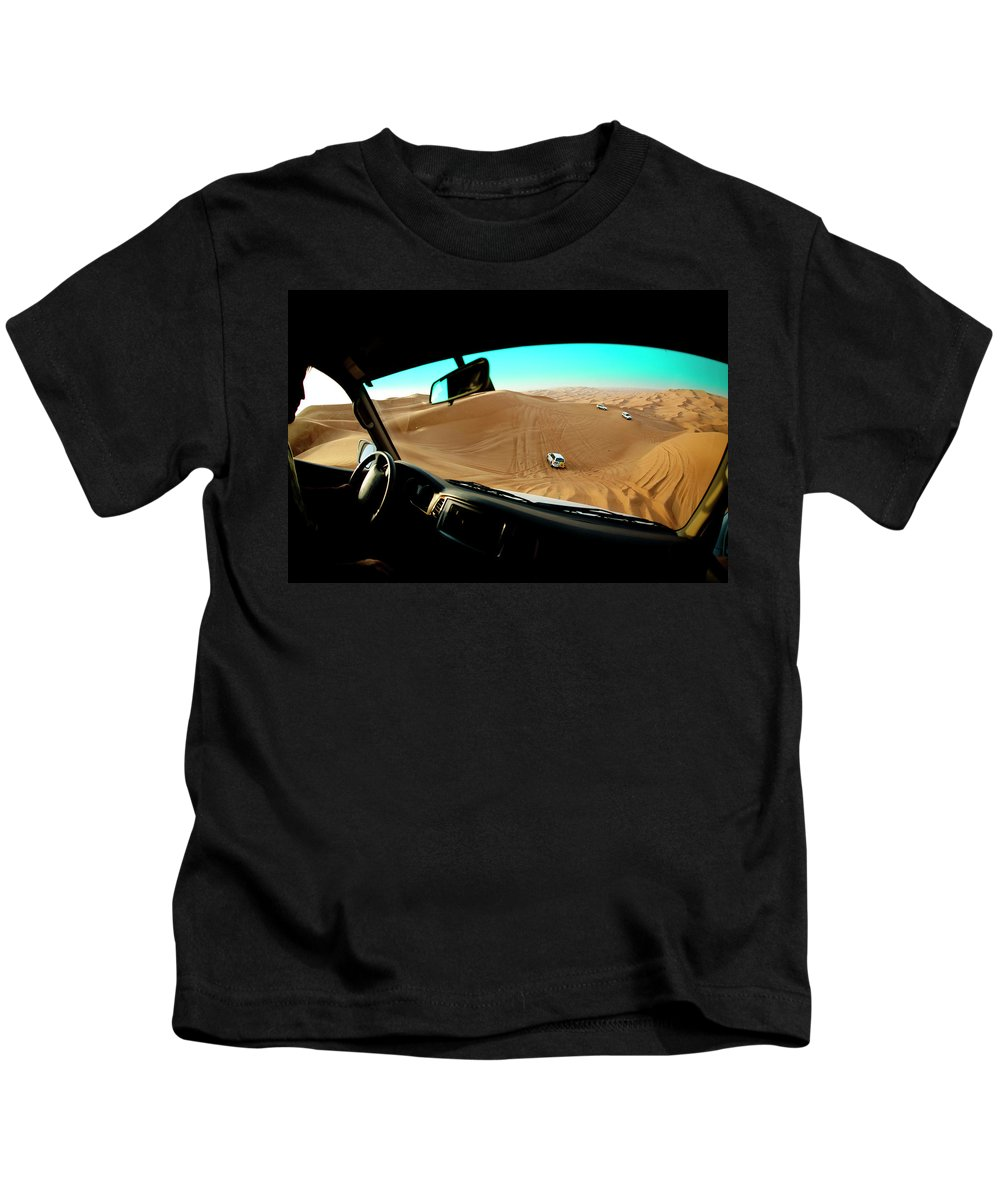 4x4 Kids T-Shirt featuring the photograph Dune Bashing In The Empty Quarter by Jereme Thaxton