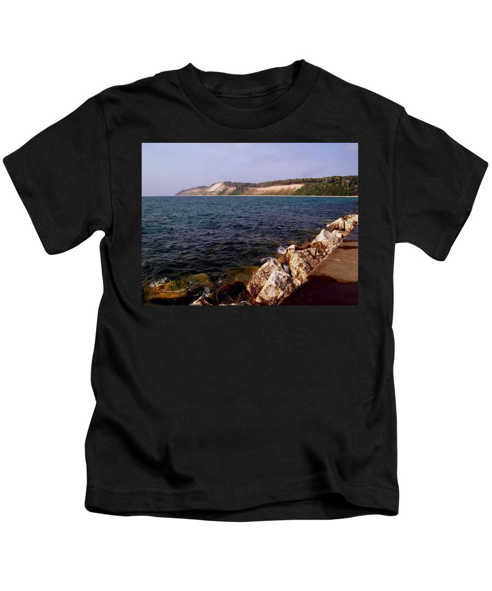 Michigan Kids T-Shirt featuring the photograph Dunes North Of Frankfort Michigan by Michelle Calkins
