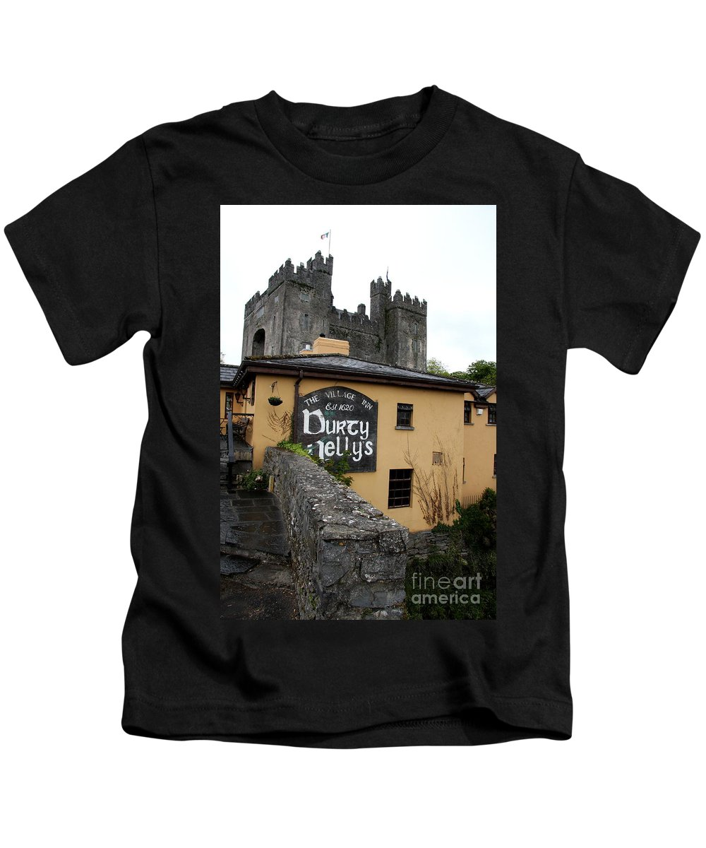 Pub Kids T-Shirt featuring the photograph Durty Nellys And Bunraty Castle by Christiane Schulze Art And Photography