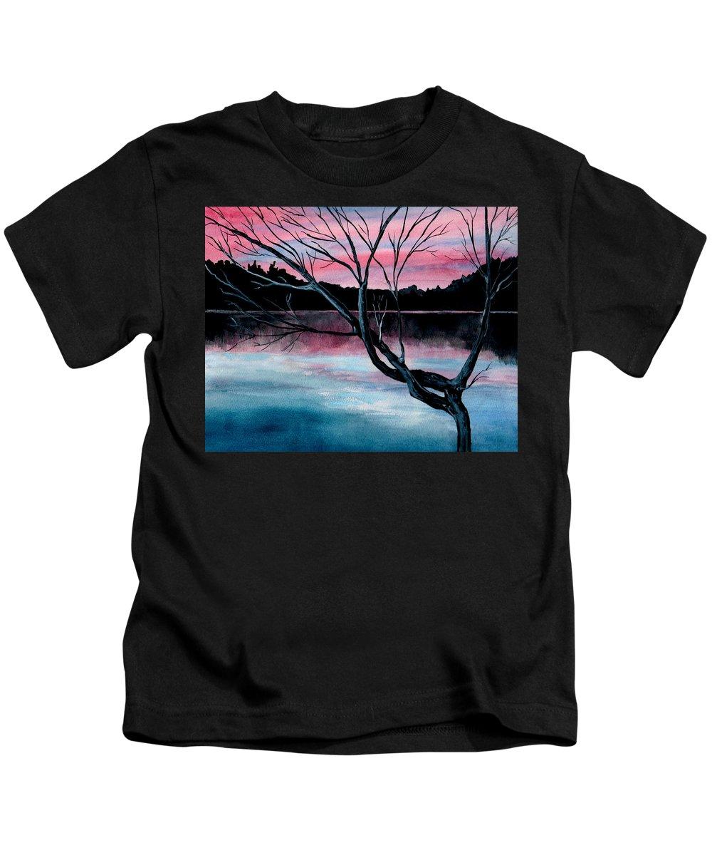 Landscape Kids T-Shirt featuring the painting Dusk Lake Arrowhead Maine by Brenda Owen