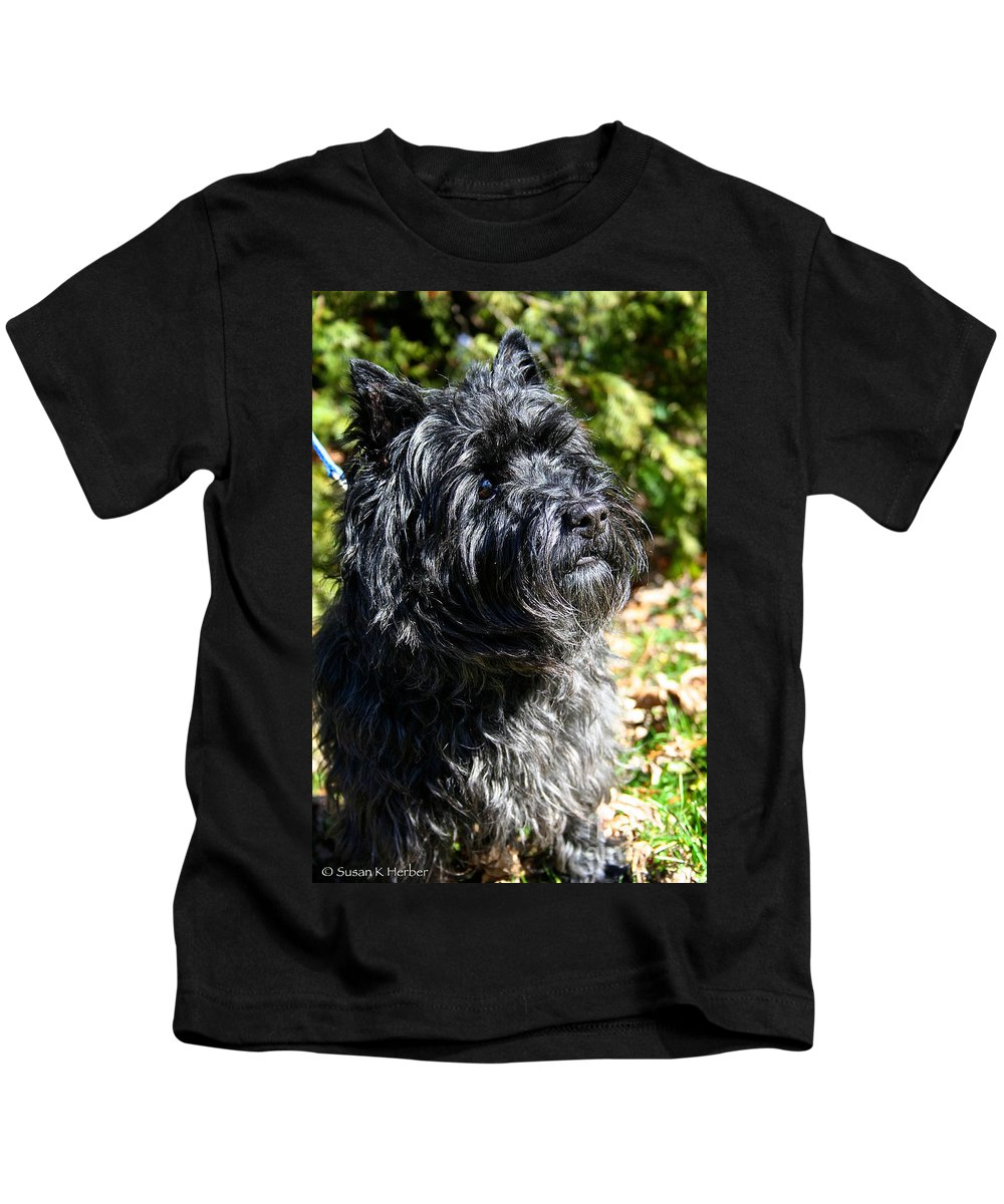 Dog Kids T-Shirt featuring the photograph Dusty by Susan Herber