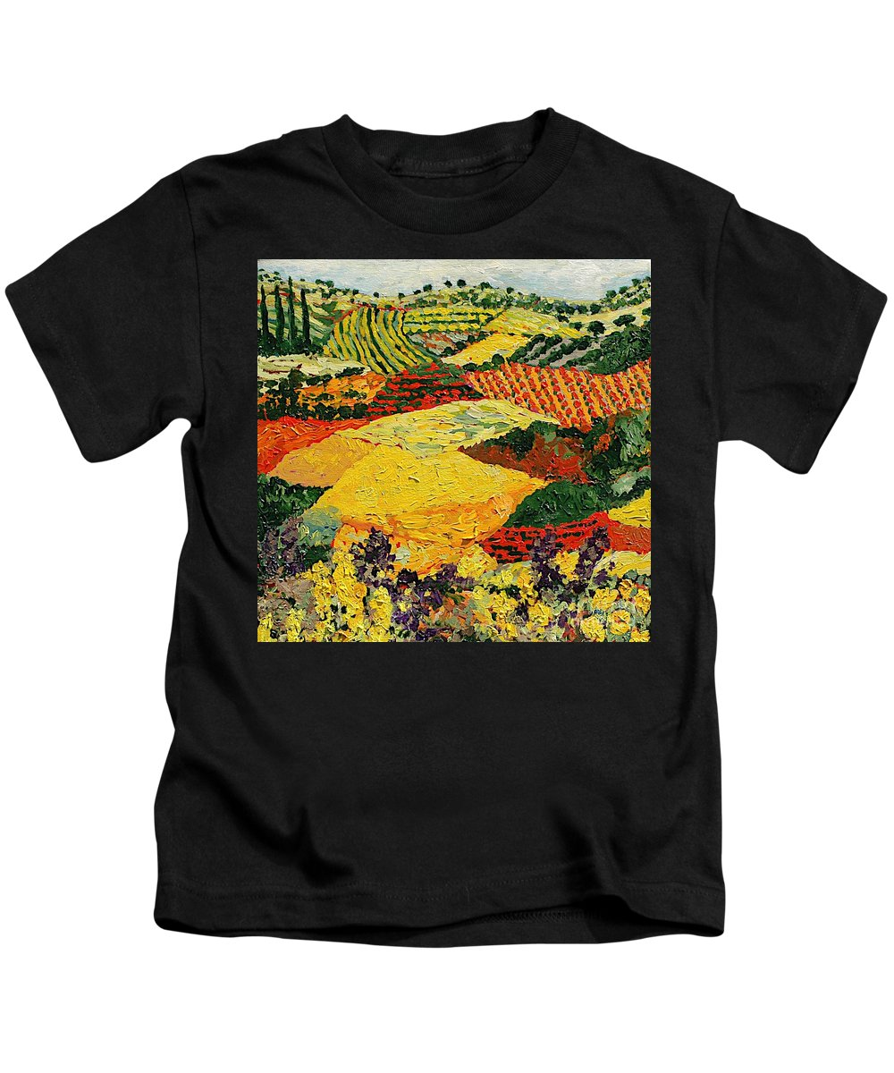 Landscape Kids T-Shirt featuring the painting Early Clouds by Allan P Friedlander