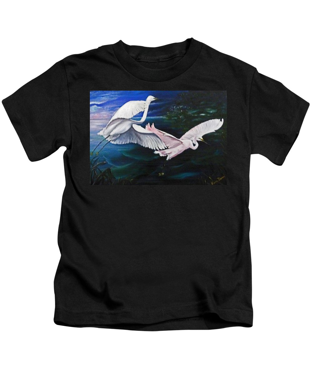 Snowy Egrets Kids T-Shirt featuring the painting Early Flight by Karin Dawn Kelshall- Best