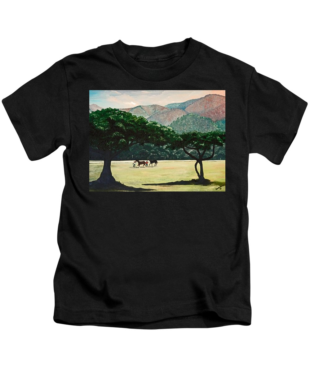 Trees Kids T-Shirt featuring the painting Early Morning Savannah by Karin Dawn Kelshall- Best