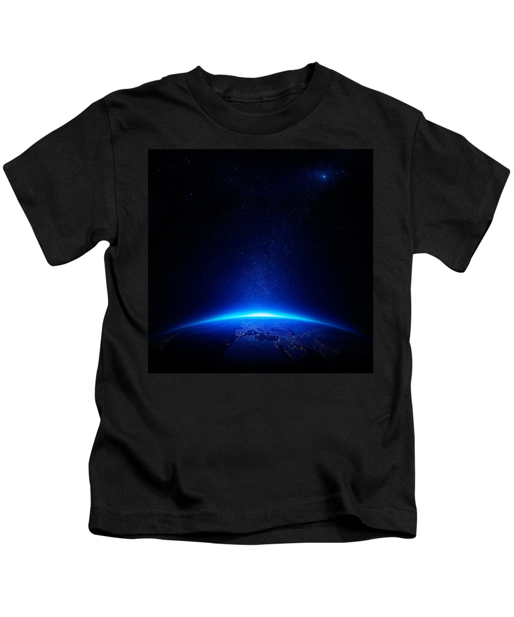Earth Kids T-Shirt featuring the photograph Earth At Night With City Lights by Johan Swanepoel