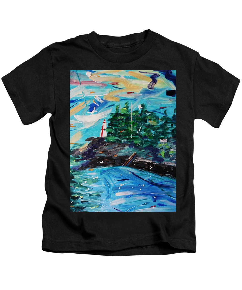 Landscape Kids T-Shirt featuring the painting Campobello Lighthouse Abstract by Nancy Milano