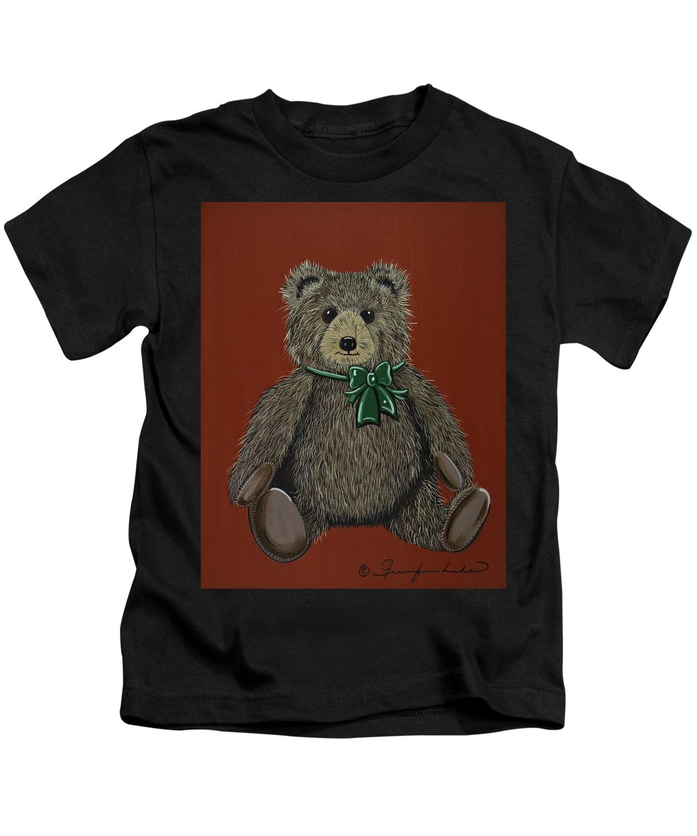 Teddy Bear Kids T-Shirt featuring the painting Easton's Teddy by Jennifer Lake