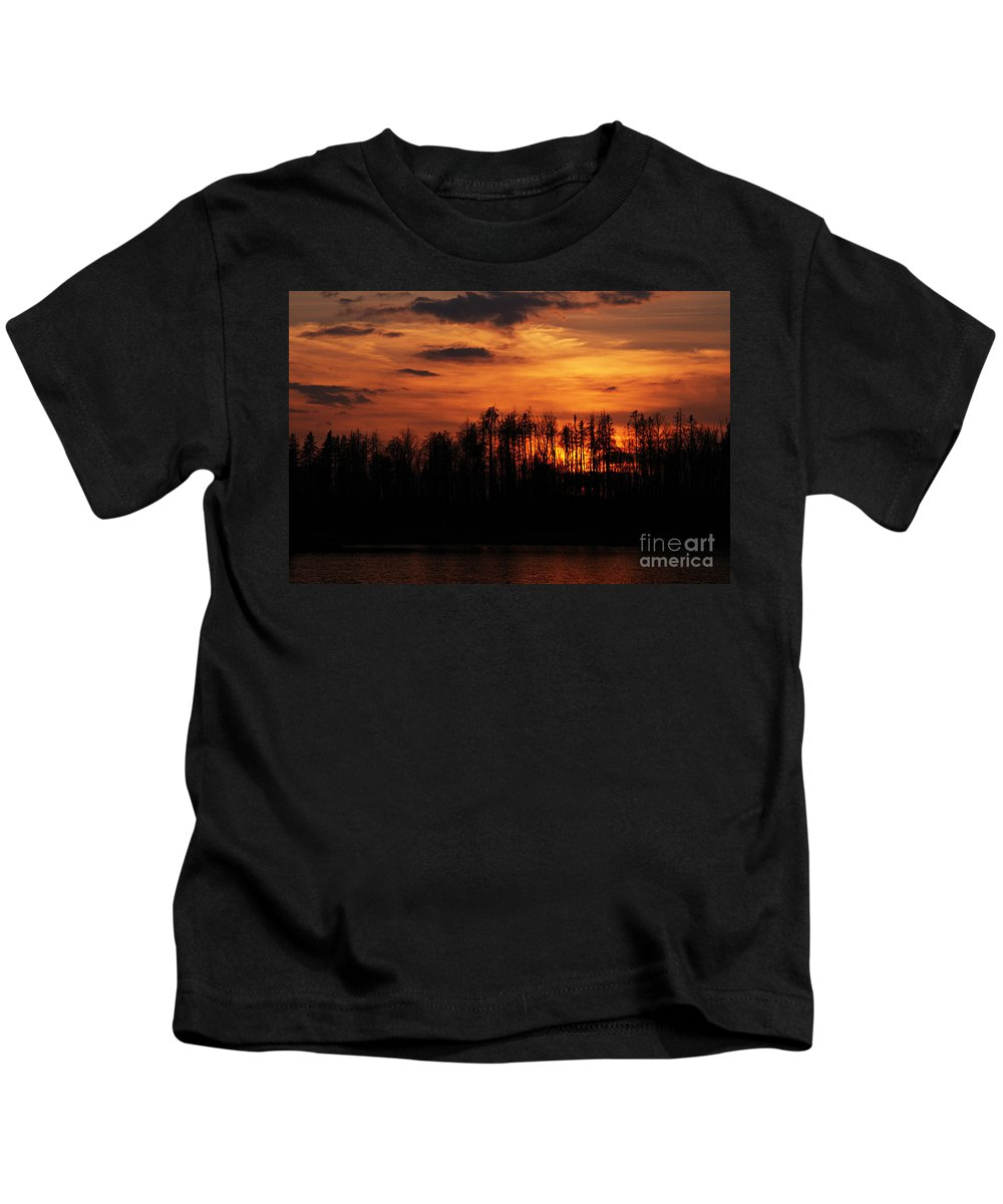 Photography Kids T-Shirt featuring the photograph Echoes Of The Fire by Larry Ricker