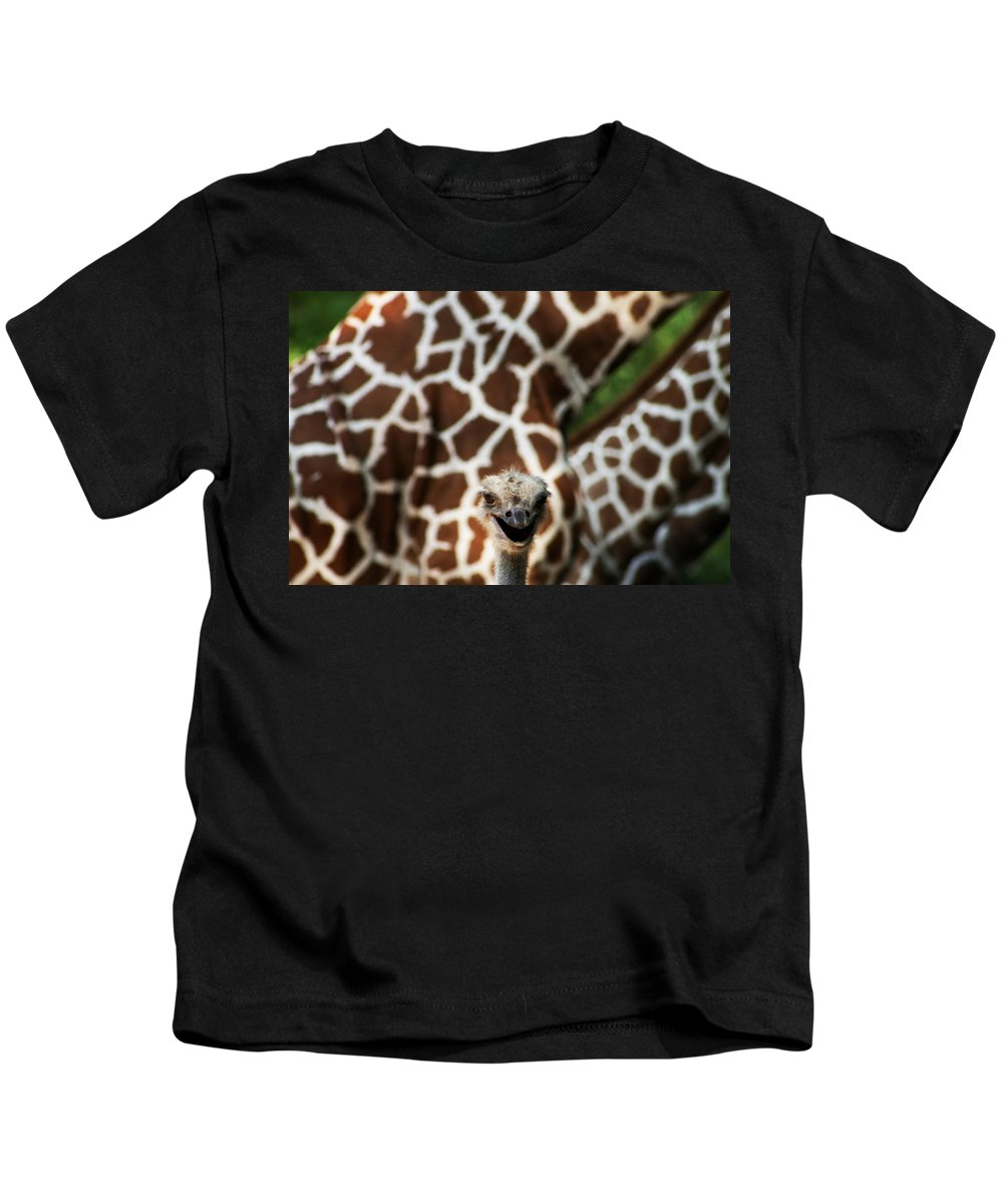 Ostrich Kids T-Shirt featuring the photograph Eeekkk by Kathy Clark