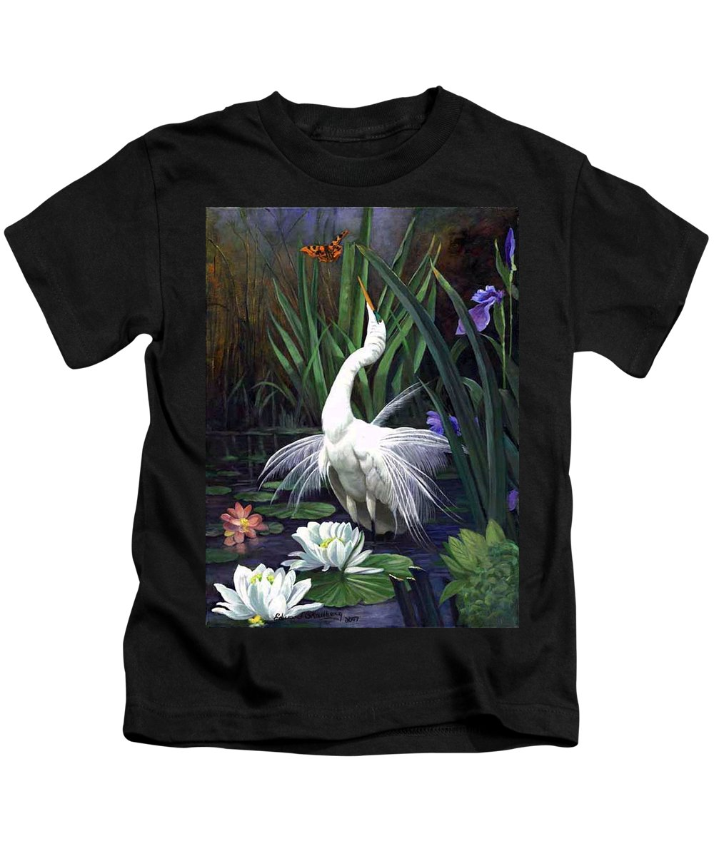 Landscape Kids T-Shirt featuring the painting Egret And The Butterfly by Edward Skallberg