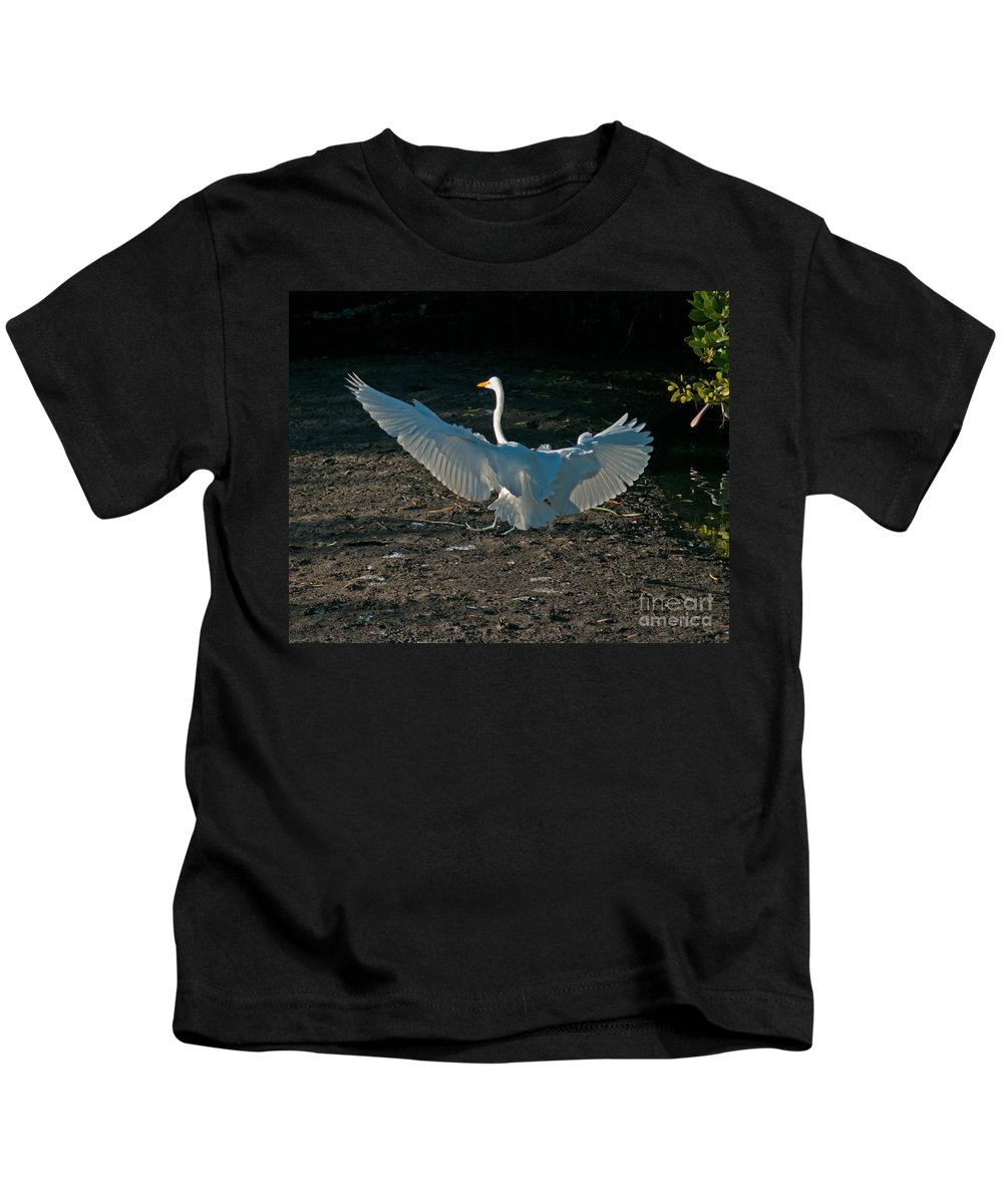 Wings Kids T-Shirt featuring the photograph Egret Showing Off by Stephen Whalen