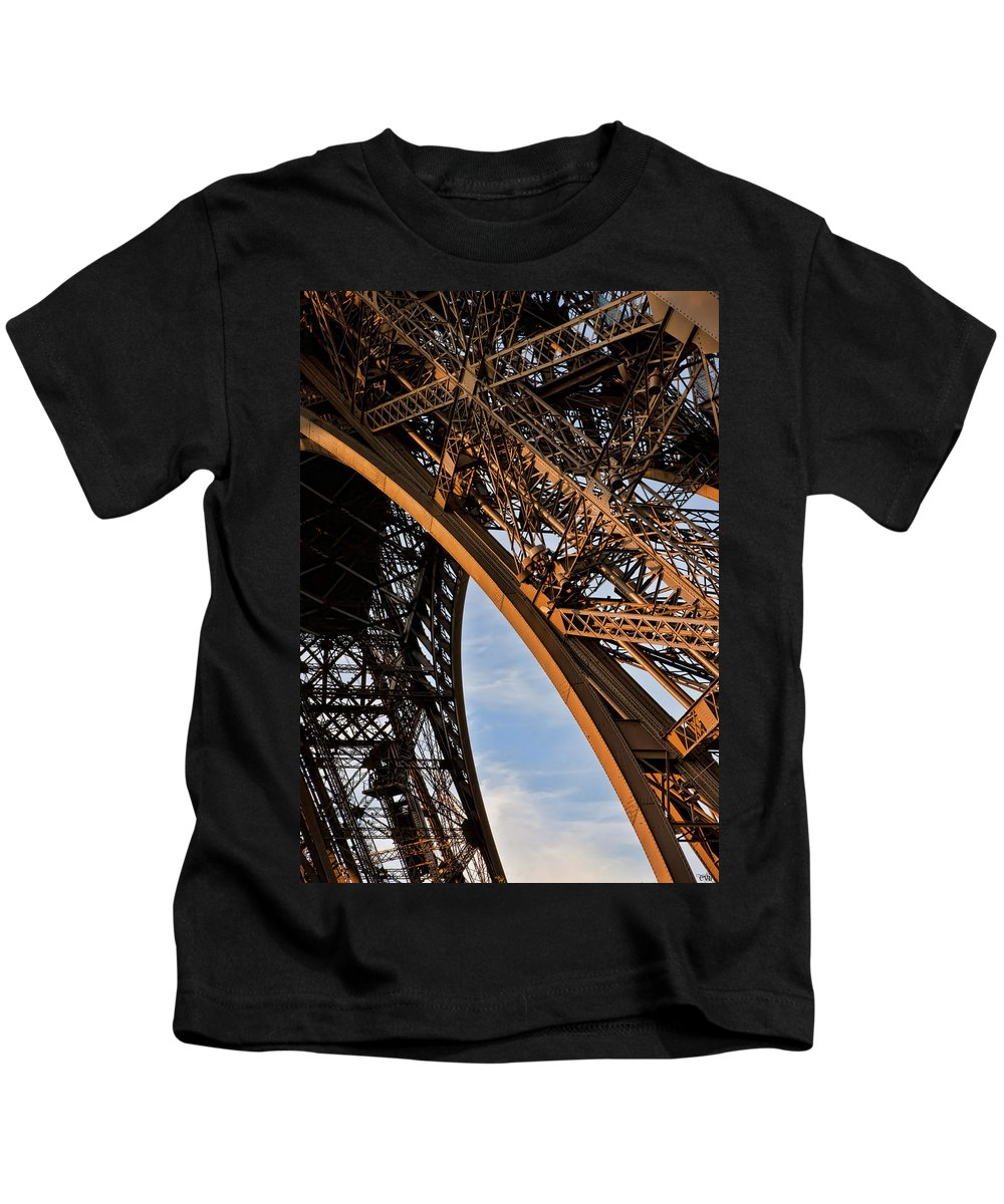 Arch Kids T-Shirt featuring the photograph Eiffel Paris by Evie Carrier