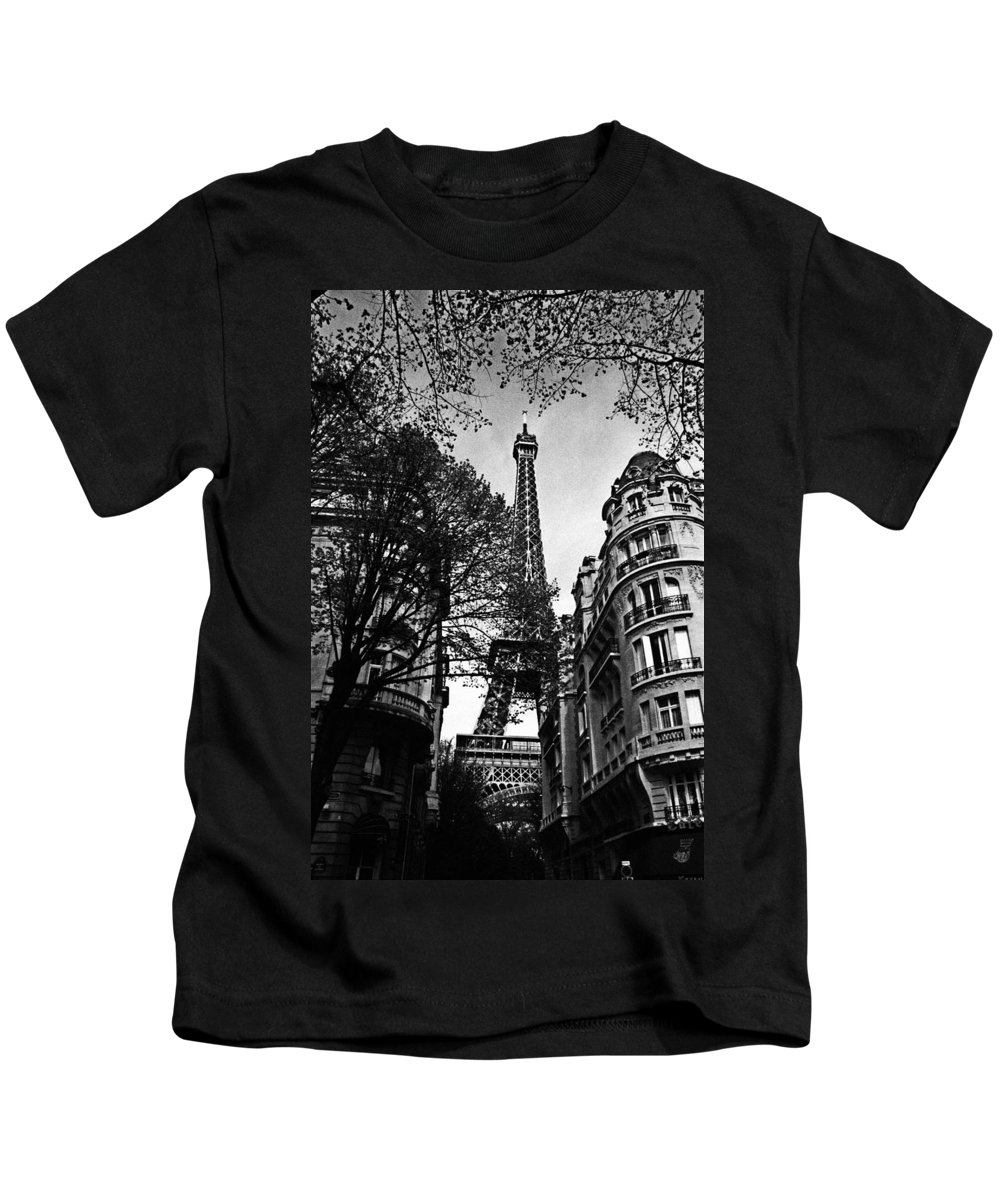Vintage Eiffel Tower Kids T-Shirt featuring the photograph Eiffel Tower Black And White by Andrew Fare