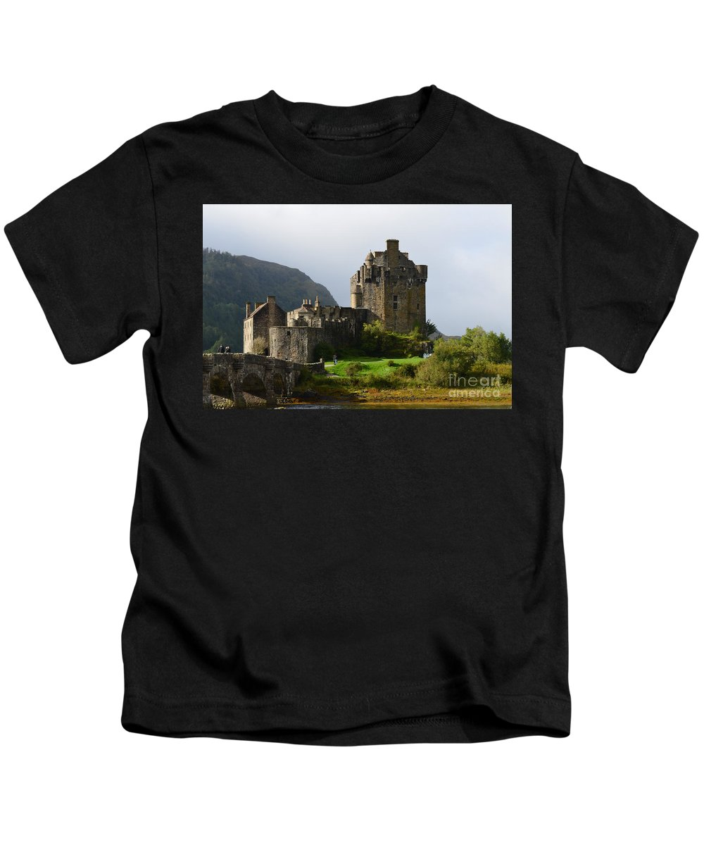 Eilean Donan Kids T-Shirt featuring the photograph Eilean Donan At Kyle Of Lochalsh by DejaVu Designs