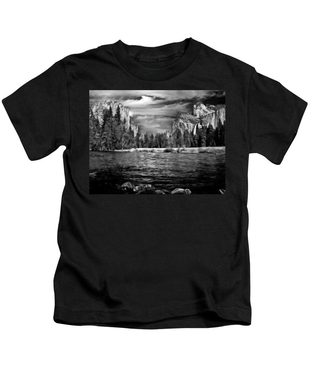 California Kids T-Shirt featuring the digital art El Capitan - Bridalveil - Half Dome by Bob and Nadine Johnston