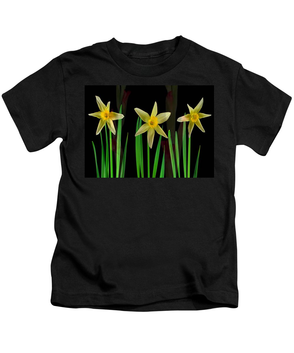 Sensual Kids T-Shirt featuring the mixed media Elegant Yellow Flowers On Green Shoots by Navin Joshi
