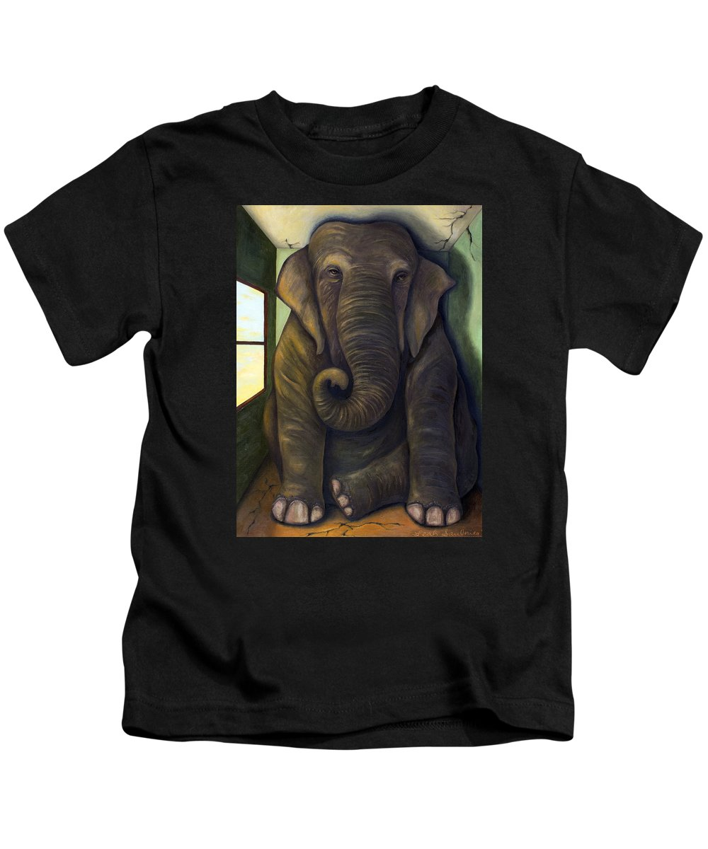Elephant Kids T-Shirt featuring the painting Elephant In The Room by Leah Saulnier The Painting Maniac