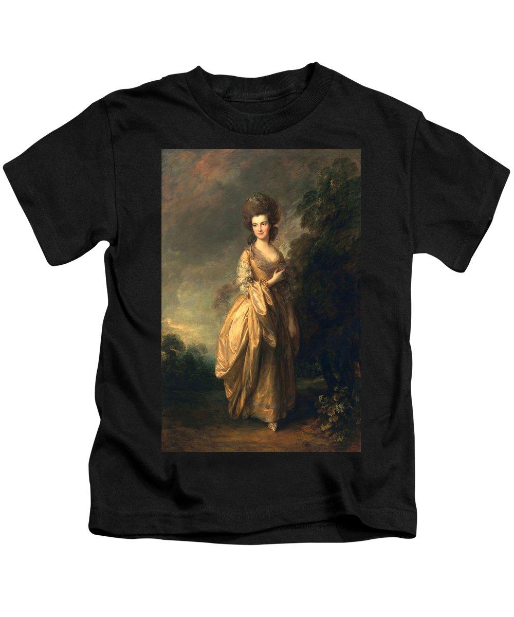 Female Kids T-Shirt featuring the painting Elizabeth Beaufoy, Later Elizabeth by Thomas Gainsborough