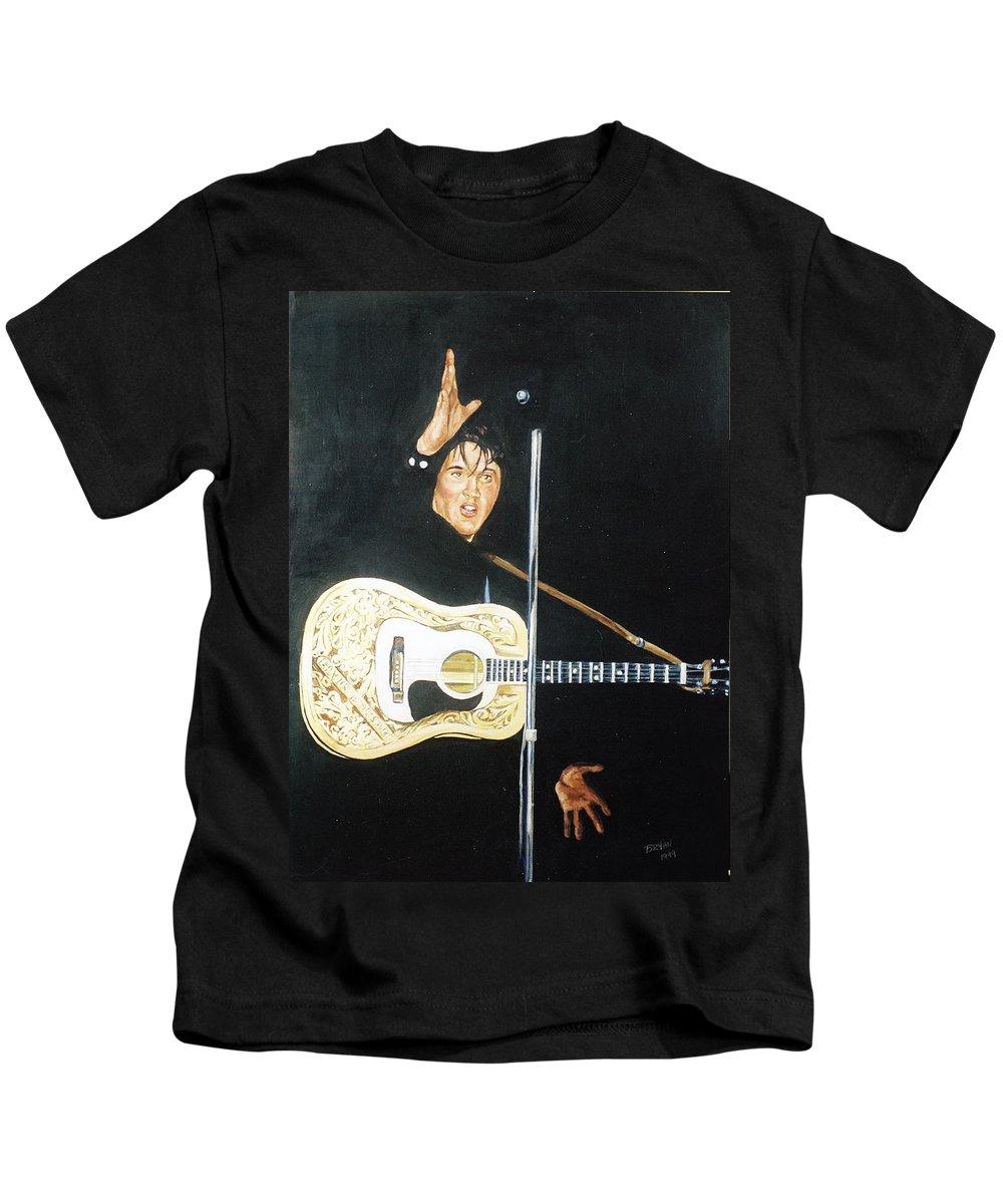 Elvis Presley Kids T-Shirt featuring the painting Elvis 1956 by Bryan Bustard