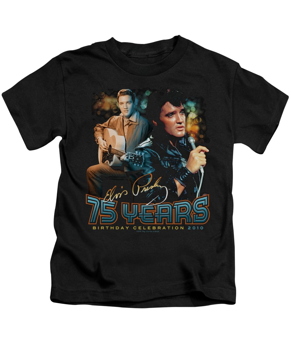 Elvis Kids T-Shirt featuring the digital art Elvis - 75 Years by Brand A