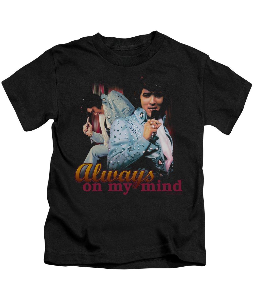 Elvis Kids T-Shirt featuring the digital art Elvis - Always On My Mind by Brand A